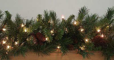 Pre-Lit Cheyenne Pine Artificial Christmas Garland - Clear Dura Lights
