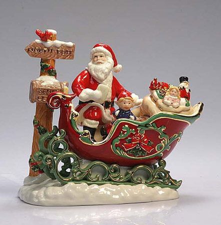 Ceramic Santa and Sleigh Figurine