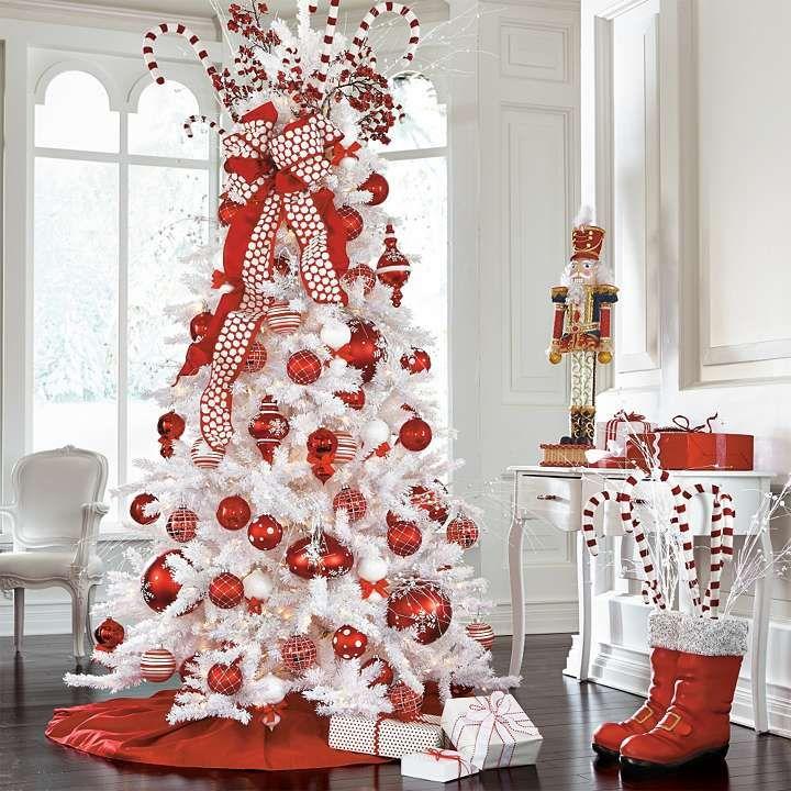 christmas artificial frozen tree christmas red white evergreen - Fake White Christmas Tree