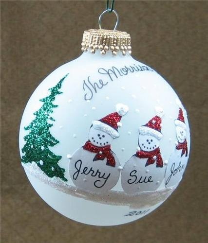 Personalized Snowman Family Glass Christmas Ball Ornament