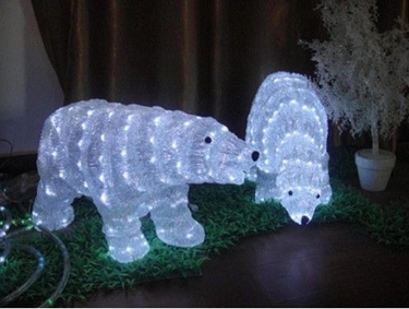 Acrylic Walking Baby Polar Bear with 24 LED Lights